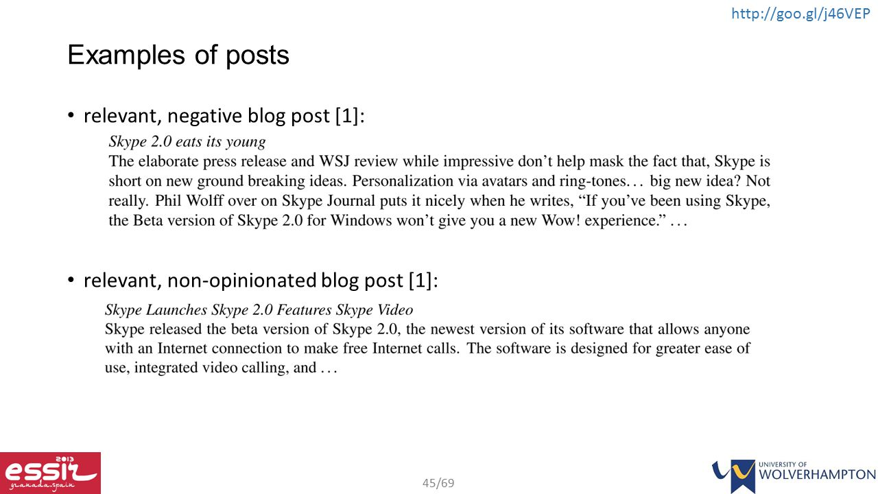 Examples of posts relevant, negative blog post [1]: